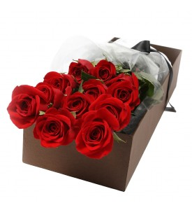 Long stem premium Red Roses in a box (from 12 pcs)